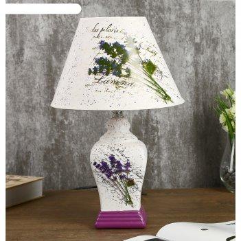 Лампа настольная керамика лаванда е14 25w 220в 37,5х25х25 см