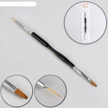 Кисть для наращивания и дизайна пластик 2-х стор лепесток/точечная 18,5см