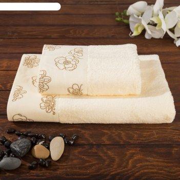 Комплект махровых полотенец exclusive 70х140, 50х90 см, цвет шампань, бамб