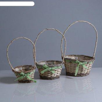 Набор корзин «бантик зелёный», 3 шт: 27x15/45 см, 20x12/40 см, 16x11/35 см