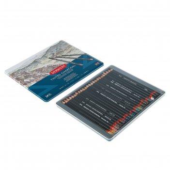 Уголь натуральный в карандаше derwent charcoal набор 24шт, мет.кор. 230169
