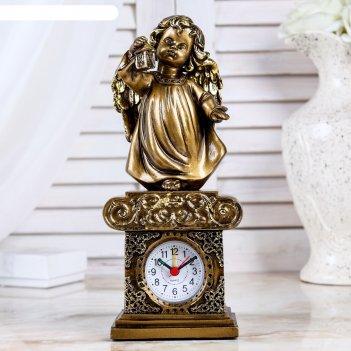 Часы настольные ангел с фонариком, цвет золото, h=25 см