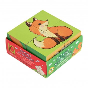 Кубики 4 шт. лесные животные (нов) 27486
