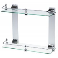Полка 2х-ярусная для ванной комнаты, металл, стекло 35*11,5*29 см