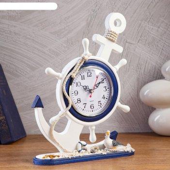 Часы настольные якорь d=11 см, 21.5х8х33.4 см, дискретный ход