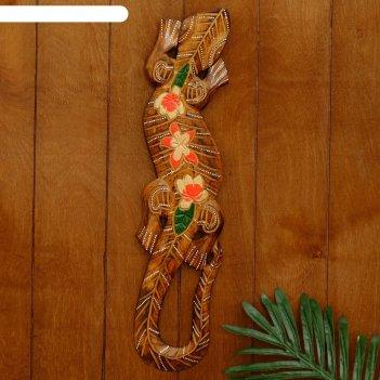 Панно дерево геккон 48х11х1,1 см