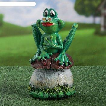 Садовая фигура жаба на грибе 27 см