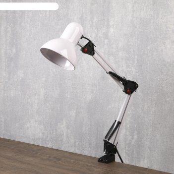 Лампа настольная е27, h=55 см, шарнирная, на зажиме (220в) молочная