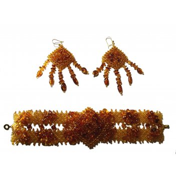 Комплект: браслет и серьги из янтаря