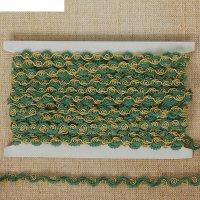Тесьма декоративная ажурная коса, ширина 1 см, 10 м, цвет зелено-золотой