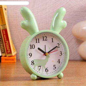 Часы настольные детские олень плавный ход, d=10.5 см, 1 аа