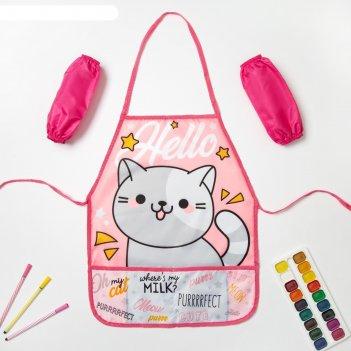 Набор детский для творчества collorista hello cat фартук 49 х 39 см и нару