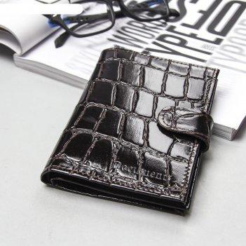 Обложка автодокументы+паспорт+бумажник, натуральная кожа, скат коричневый