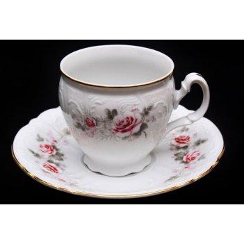 Набор для чая роза серая(чашка160мл.+блюдце) на 6перс.12пред. выс. н/н.