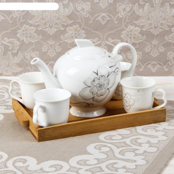 Набор чайный эстет, 5 предметов: 4 кружки 100 мл, чайник 700 мл