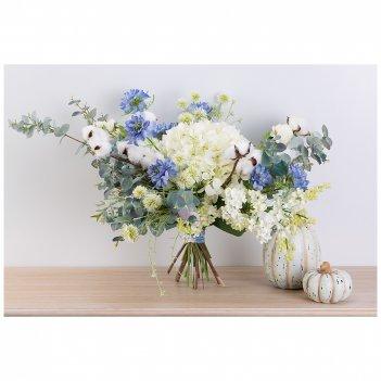 Цветочная композиция  голубая лагуна ширина 58 см*высота 50 см- без упаков