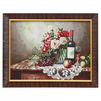 H275-30x40 картина из гобелена вино и фрукты на ажурной салфетке (35х45)