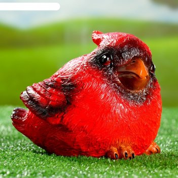 Садовая фигура красный кардинал 14х14х17см