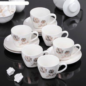 Сервиз кофейный золотой цветок, 12 предметов: 6 чашек 90 мл, 6 блюдец 12х1