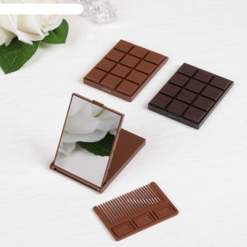 Зеркало, расческа шоколадное чудо, цвета микс