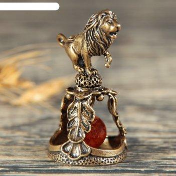Колокольчик латунный знак зодиака. лев, янтарь