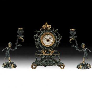 Часы настольные с канделябрами на 1 свечу, набор из 3 предм.
