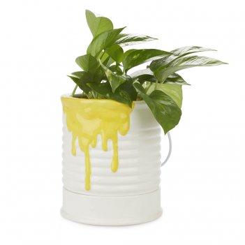 Кашпо керамическое для цветов painty желтое 18см