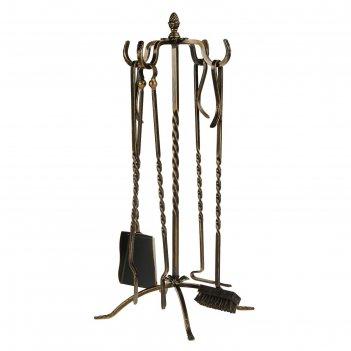 Каминный набор кованый спирали, цвет бронза, 4 предмета: кочерга, щипцы, с