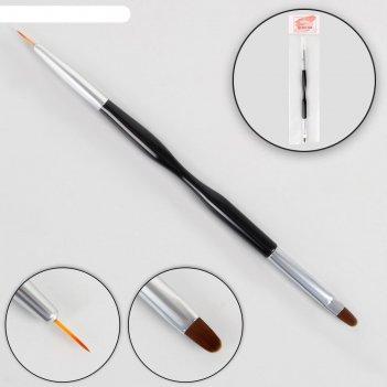 Кисть для наращивания и дизайна ногтей, двусторонняя, 18,5 см, цвет чёрный