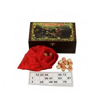 Игра русское лото в деревянном сундуке охотники (sa-lot-006)