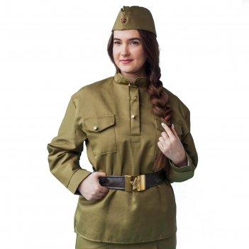 Комплект военный женский, пилотка, гимнастёрка, ремень с бляхой, р-р 48-50