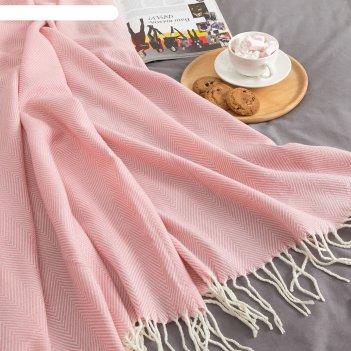 Плед этель геометрия 125*150± 5 см, цв. розовый, акрил, 100% полиэстер