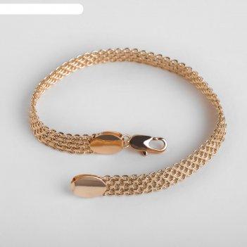 Браслет металл цепь широкая, 19см, цвет серебристо-золотой