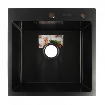 Мойка кухонная aflorn af95050f, врезная, s=3,0 и 0,8 мм, 50х50х20 см, сифо