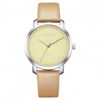 Часы наручные женские gepard, жёлтый циферблат, бежевый ремешок, 1252a1l3-