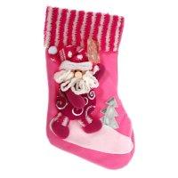 Носок для подарка дед мороз (серебристые узоры)
