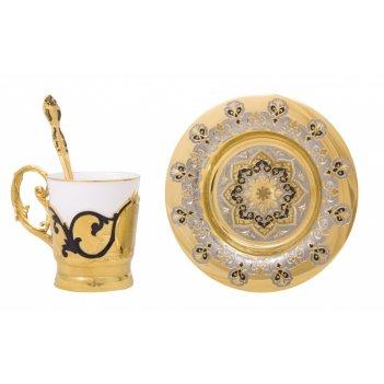 Набор кофейный крепкий кофе  (тарель, чашка, ложка)  златоуст