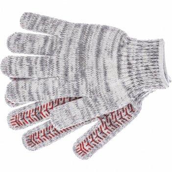 Перчатки трикотажные усиленные, гелевое пвх-покрытие, 7 класс, бело-серый