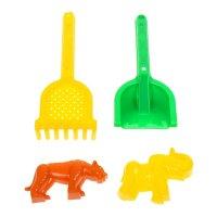 Песочный набор №566: лопатка №30, грабельки №30, формочки (тигр + мамонт)