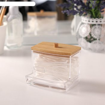 Органайзер для хранения ватных палочек, 9 x 7,5 x 7 см, цвет прозрачный/ко