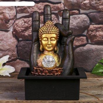 Фонтан настольный от сети, подсветка будда и рука 35х20х25 см