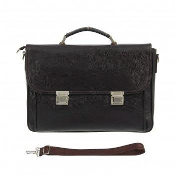 Портфель мужской, 2 отдела, наружный карман, длинный ремень, цвет коричнев