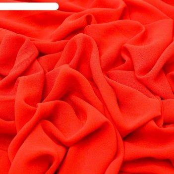 Ткань плательная, креп-шифон гладкокрашеный, ширина 150 см, красный, rh 17
