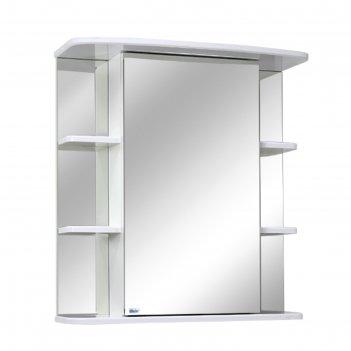 Шкаф-зеркало родос 65 полочки по бокам цвет: белый глянец