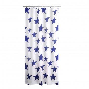 Штора для ванных комнат star, цвет синий, 180x200 см