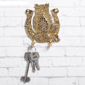 Ключница сова с подковой, 8 х 9,2 см