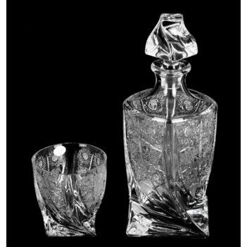 Набор хрусталь квадро прозрачный снежинка(штоф+6стаканов)