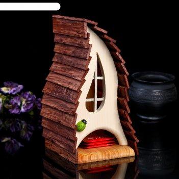 Чайный домик лесная тень, 14*14*26см; материал: дуб, сосна; покрытие: аква