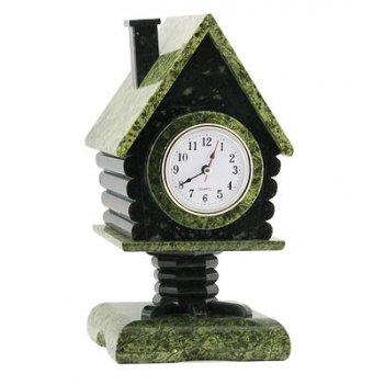 Часы со шкатулкой избушка змеевик арт.3190