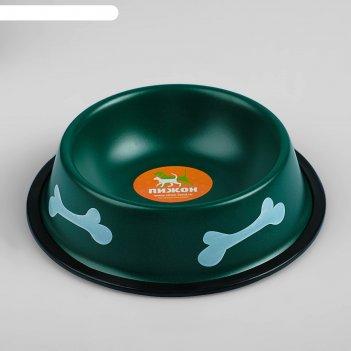 Миска с косточками, железная с нескользящим основанием, зеленая